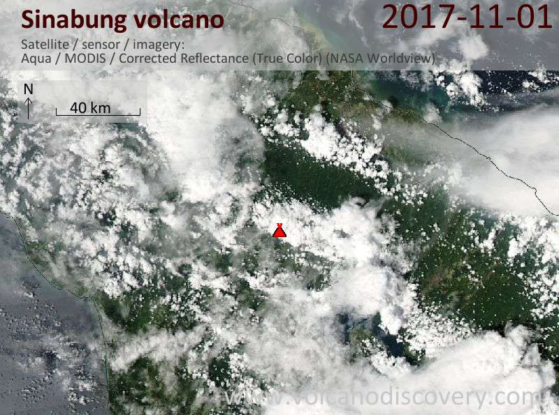 Satellite image of Sinabung volcano on  1 Nov 2017