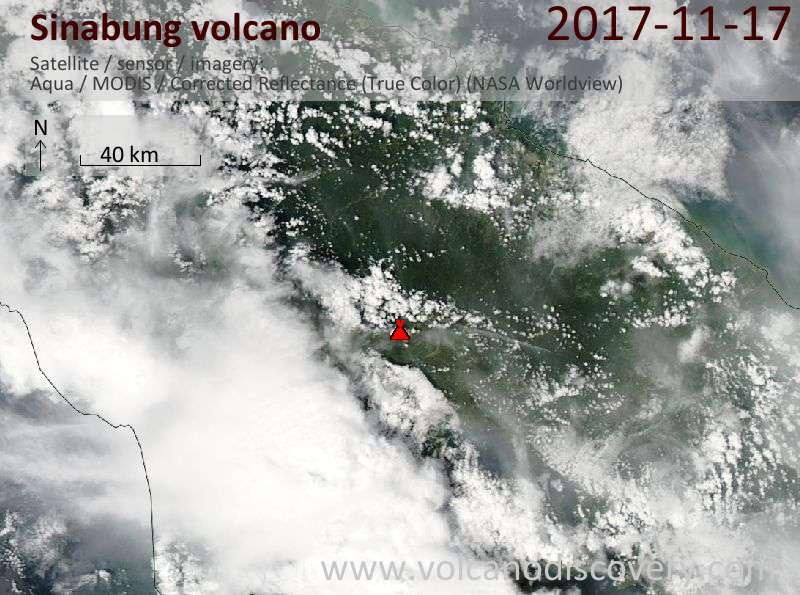 Satellite image of Sinabung volcano on 17 Nov 2017