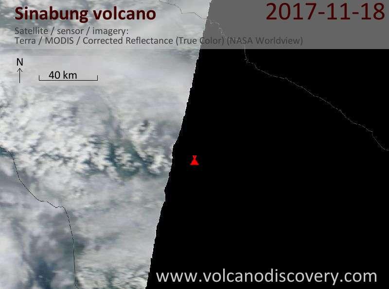 Satellite image of Sinabung volcano on 19 Nov 2017