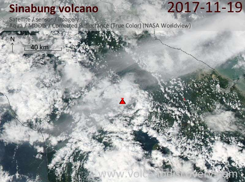 Satellite image of Sinabung volcano on 20 Nov 2017
