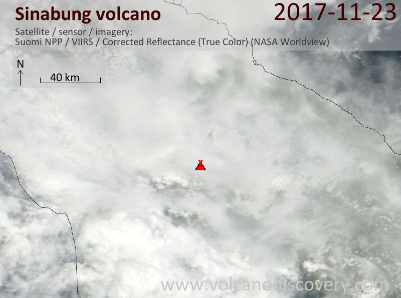 Satellite image of Sinabung volcano on 24 Nov 2017