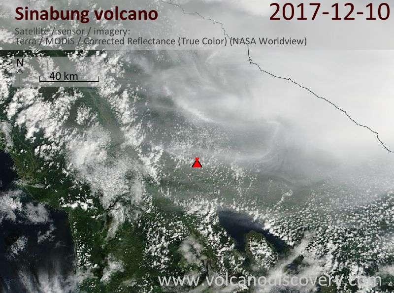 Satellite image of Sinabung volcano on 10 Dec 2017