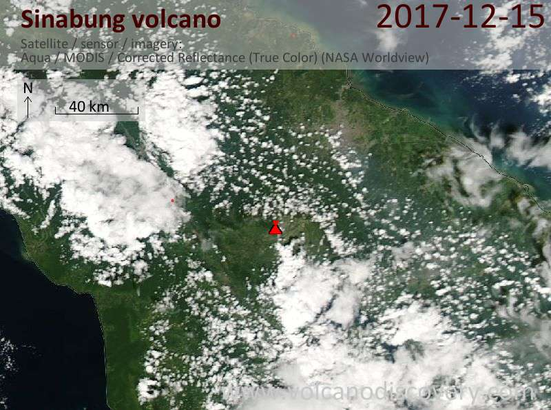 Satellite image of Sinabung volcano on 16 Dec 2017