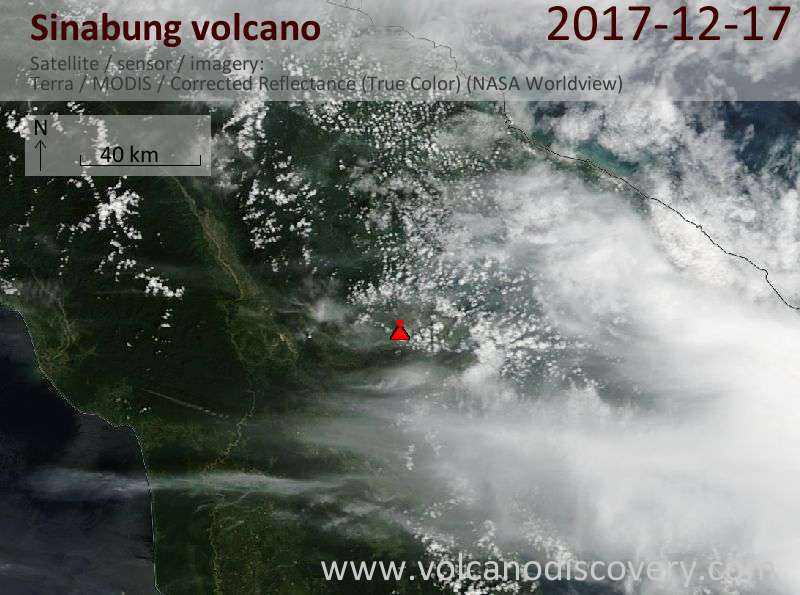 Satellite image of Sinabung volcano on 17 Dec 2017