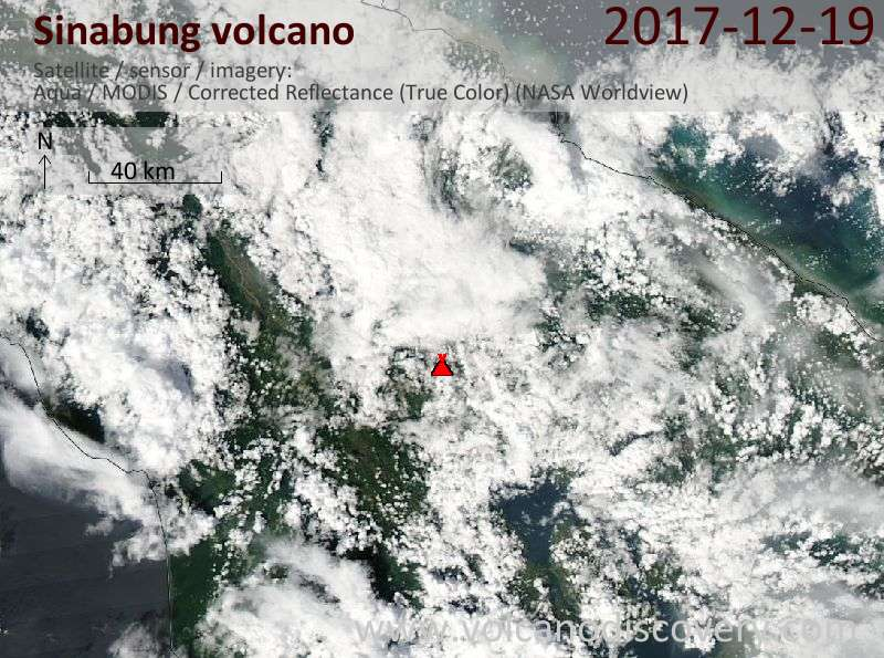 Satellite image of Sinabung volcano on 19 Dec 2017
