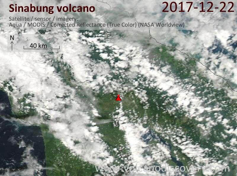 Satellite image of Sinabung volcano on 22 Dec 2017