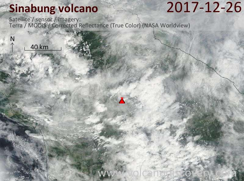 Satellite image of Sinabung volcano on 26 Dec 2017