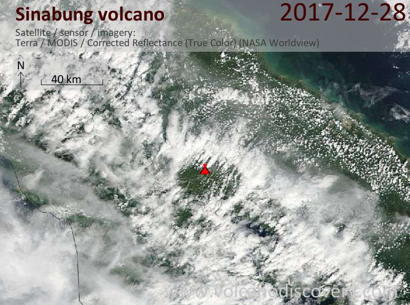 Satellite image of Sinabung volcano on 28 Dec 2017