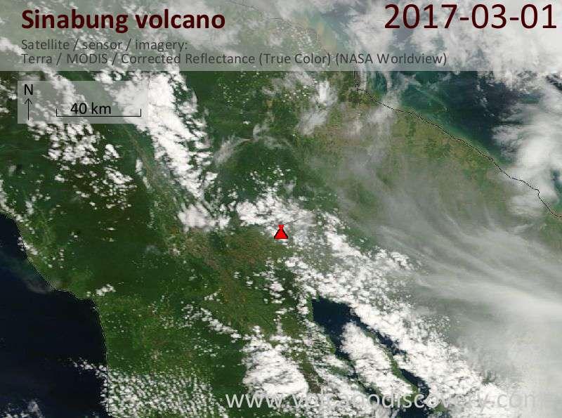 Satellite image of Sinabung volcano on  1 Mar 2017