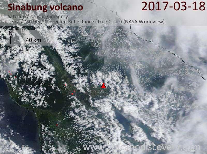 Satellite image of Sinabung volcano on 18 Mar 2017