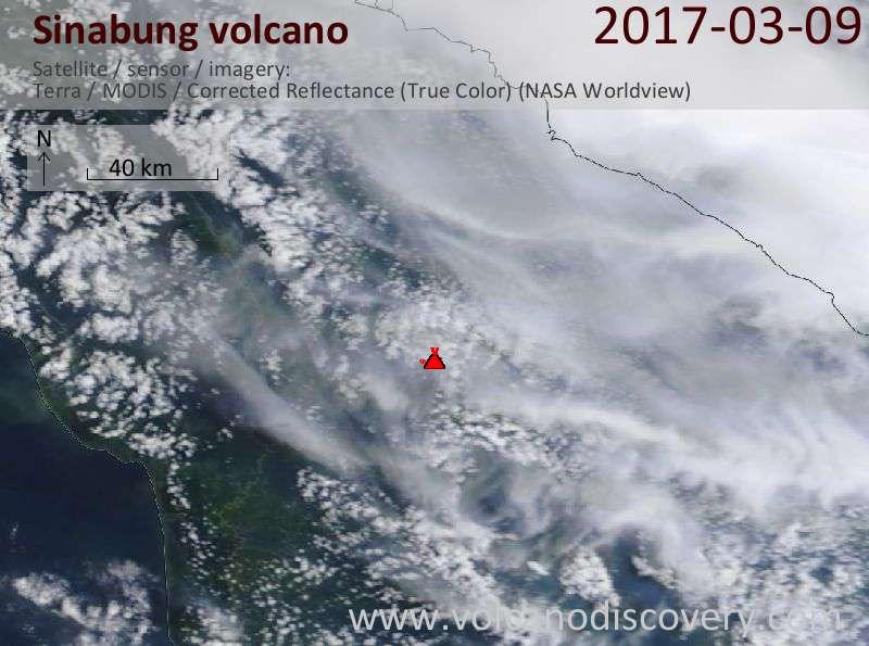 Satellite image of Sinabung volcano on  9 Mar 2017