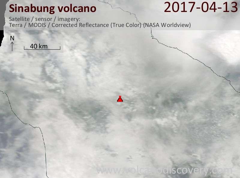 Satellite image of Sinabung volcano on 13 Apr 2017