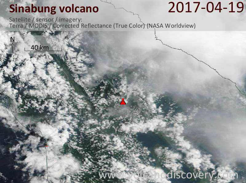 Satellite image of Sinabung volcano on 19 Apr 2017