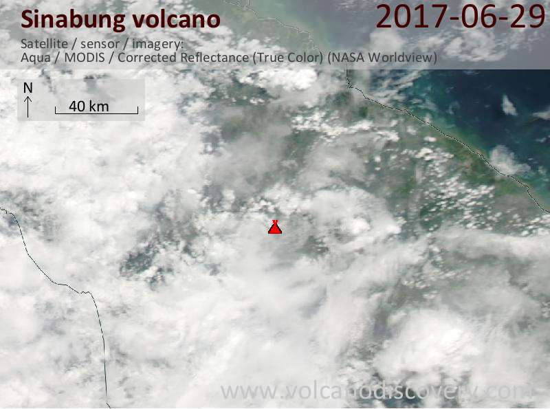 Satellite image of Sinabung volcano on 30 Jun 2017