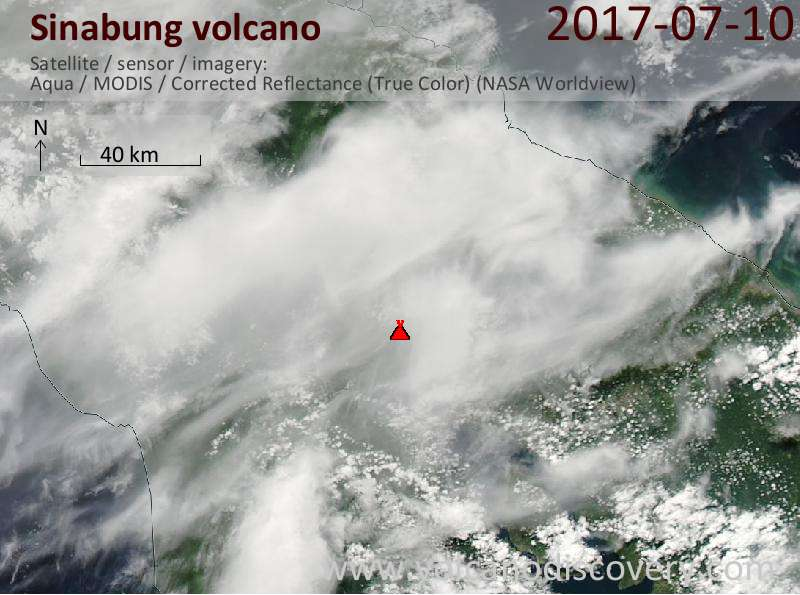 Satellite image of Sinabung volcano on 10 Jul 2017