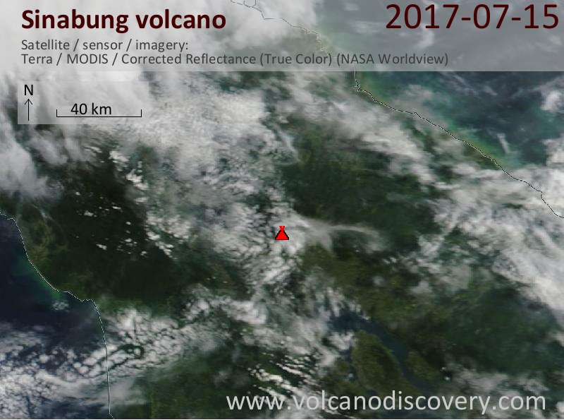 Satellite image of Sinabung volcano on 15 Jul 2017