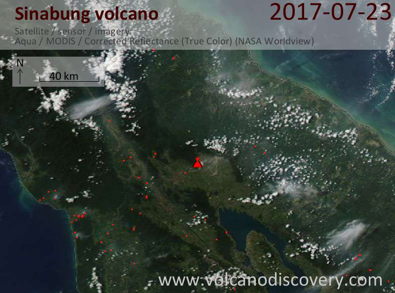 Satellite image of Sinabung volcano on 23 Jul 2017