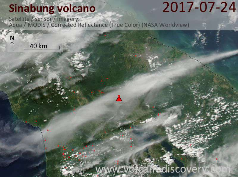 Satellite image of Sinabung volcano on 24 Jul 2017