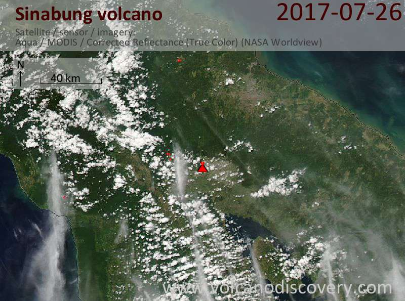 Satellite image of Sinabung volcano on 26 Jul 2017