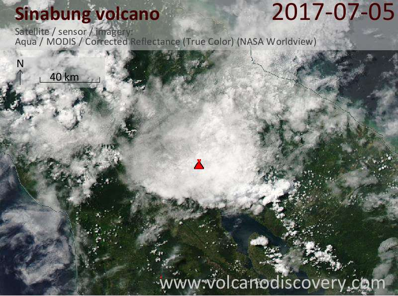 Satellite image of Sinabung volcano on  6 Jul 2017