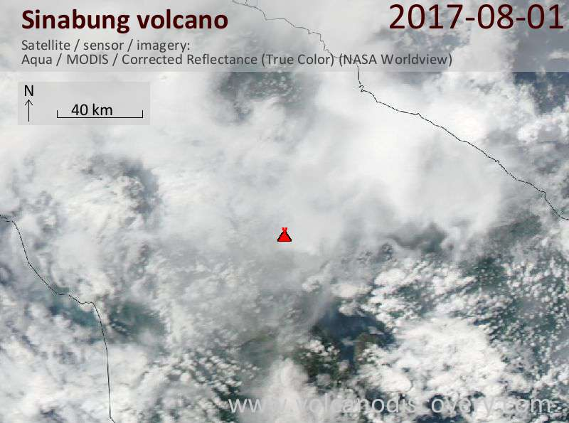 Satellite image of Sinabung volcano on  1 Aug 2017