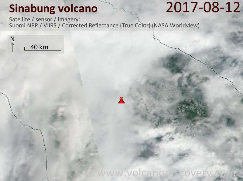 Satellite image of Sinabung volcano on 12 Aug 2017