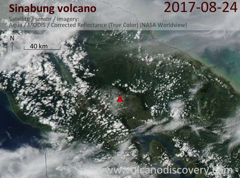 Satellite image of Sinabung volcano on 24 Aug 2017