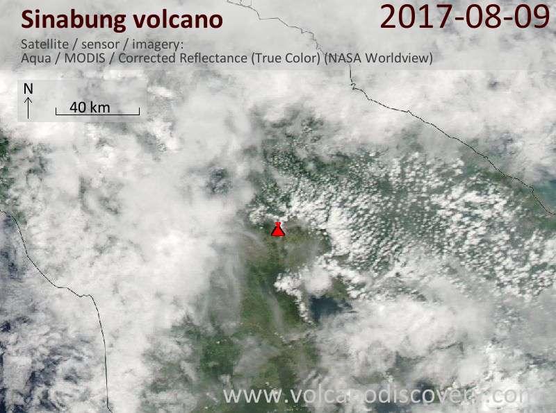 Satellite image of Sinabung volcano on  9 Aug 2017