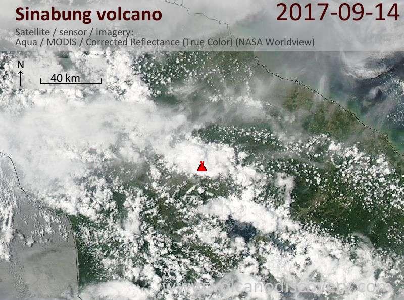 Satellite image of Sinabung volcano on 14 Sep 2017