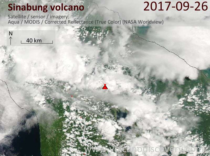 Satellite image of Sinabung volcano on 26 Sep 2017