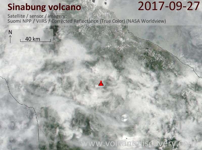 Satellite image of Sinabung volcano on 28 Sep 2017