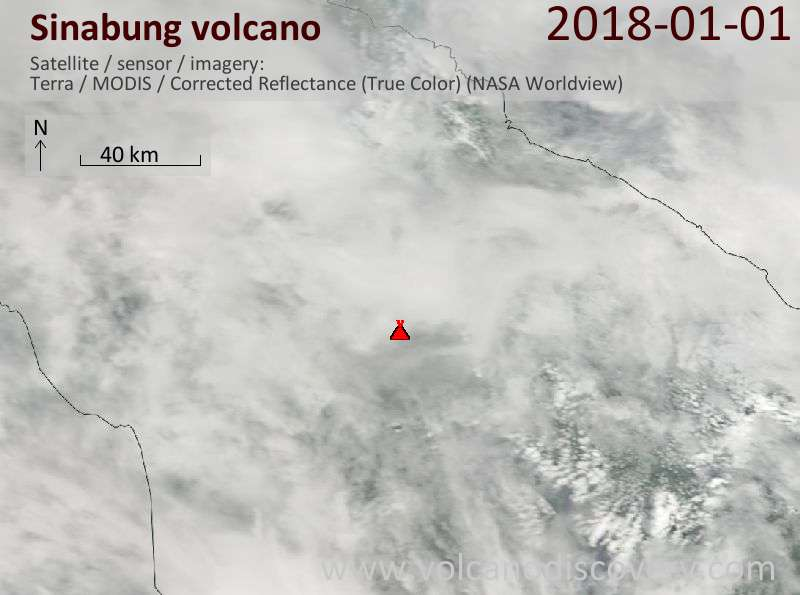 Satellite image of Sinabung volcano on  1 Jan 2018