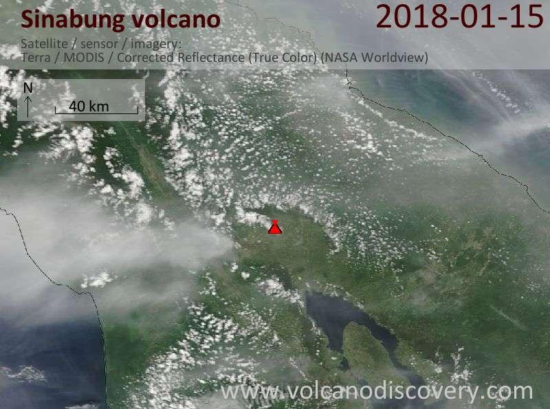 Satellite image of Sinabung volcano on 15 Jan 2018