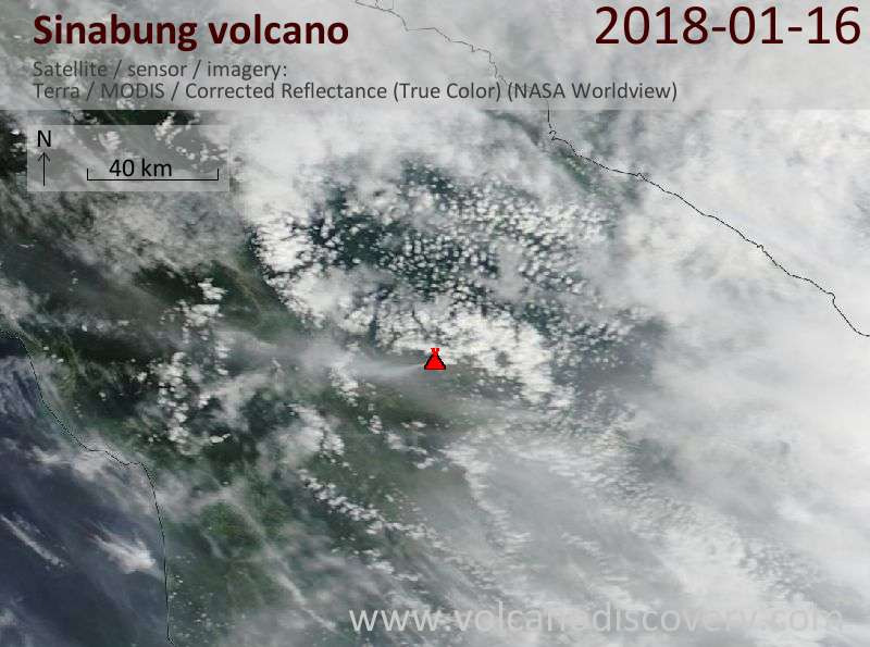 Satellite image of Sinabung volcano on 16 Jan 2018