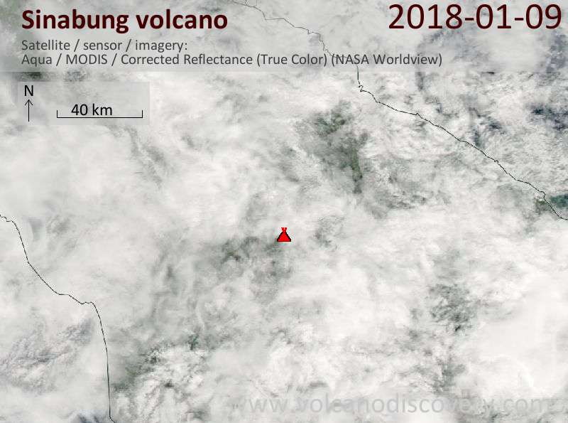 Satellite image of Sinabung volcano on  9 Jan 2018