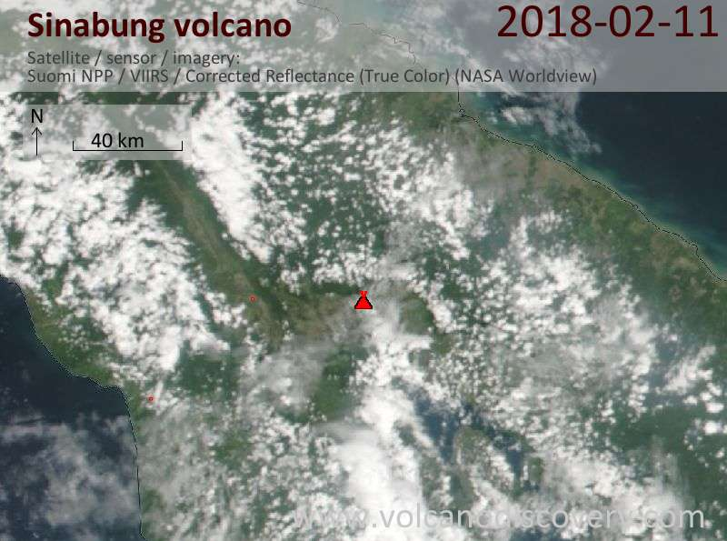 Satellite image of Sinabung volcano on 11 Feb 2018