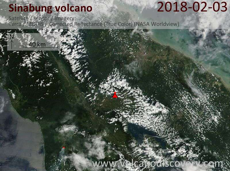 Satellite image of Sinabung volcano on  3 Feb 2018