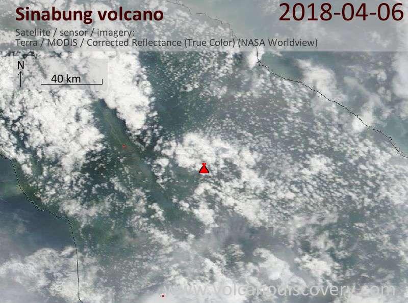Satellite image of Sinabung volcano on  6 Apr 2018
