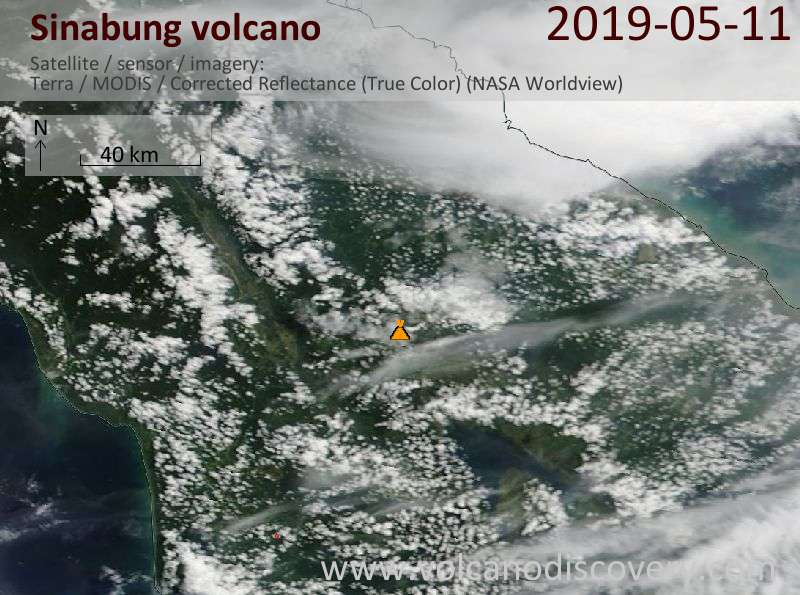 Satellite image of Sinabung volcano on 11 May 2019