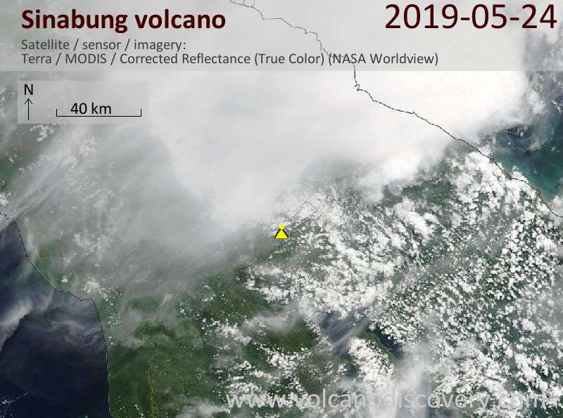 Satellite image of Sinabung volcano on 24 May 2019