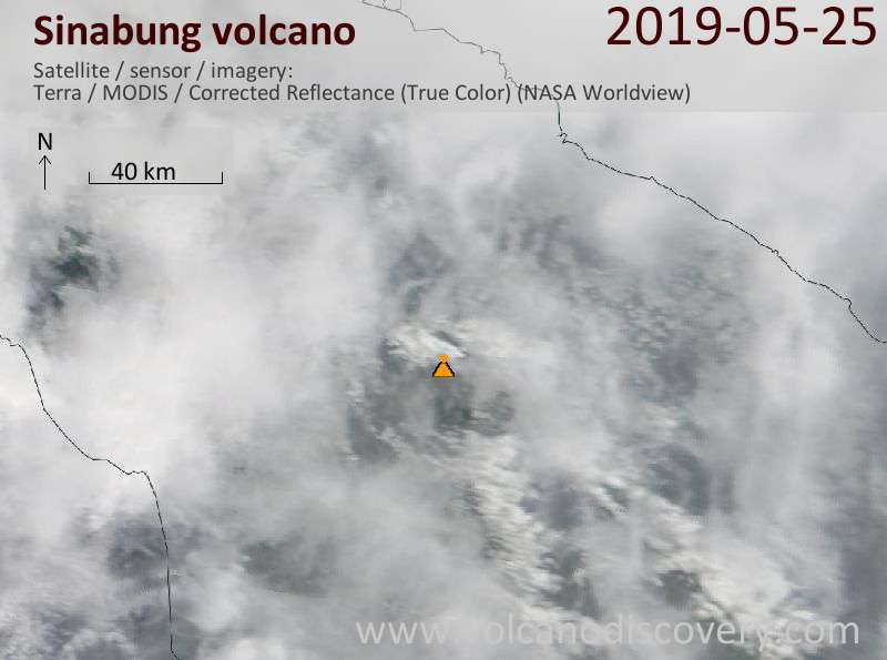 Satellite image of Sinabung volcano on 25 May 2019