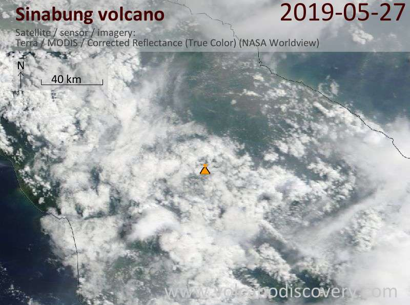 Satellite image of Sinabung volcano on 27 May 2019