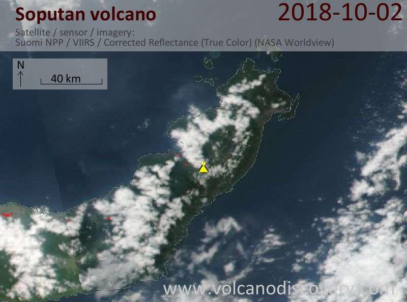 Satellite image of Soputan volcano on  3 Oct 2018