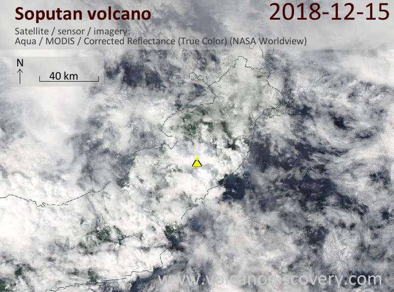 Satellite image of Soputan volcano on 15 Dec 2018