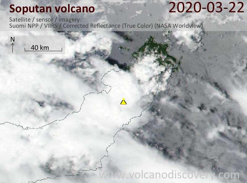 Satellitenbild des Soputan Vulkans am 22 Mar 2020