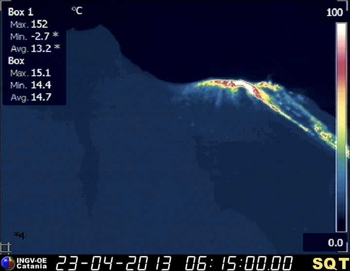 Thermal webcam image of the crater area of Stromboli (INGV)