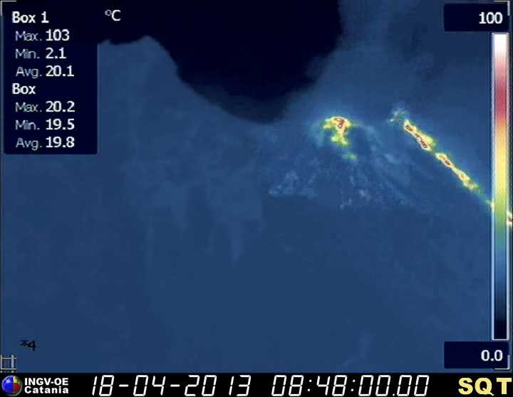 Thermal image of the crater area of Stromboli (INGV Catania)
