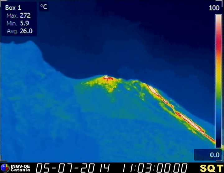 Naro Bril beeld van de noordoostelijke ventilatieopeningen nl de bovenste Sciara del Fuoco (INGV Catania)