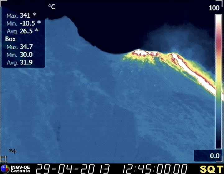 New lava overflow on the Sciara del Fuoco (INGV thermal webcam)