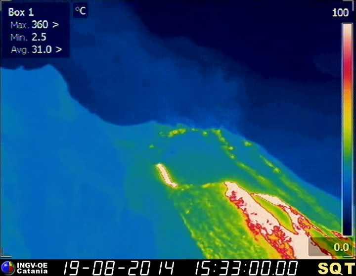 The active lava flow on Stromboli's upper Sciara del Fuoco (INGV thermal webcam)